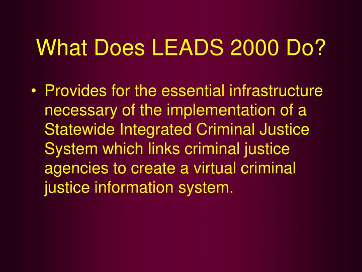 What Does LEADS 2000 Do?