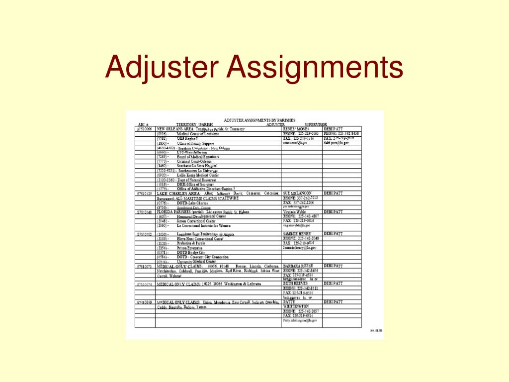 Adjuster Assignments