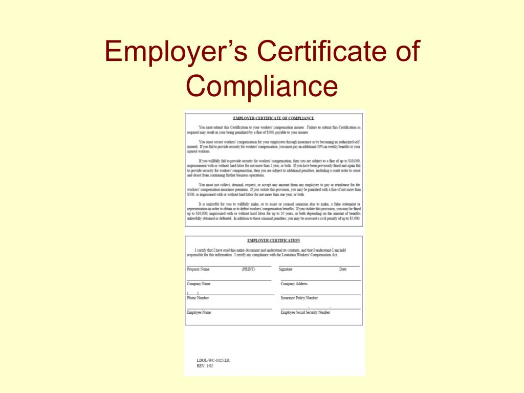 Employer's Certificate of Compliance