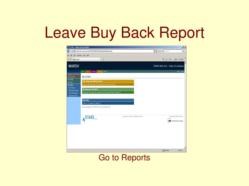 Leave Buy Back Report