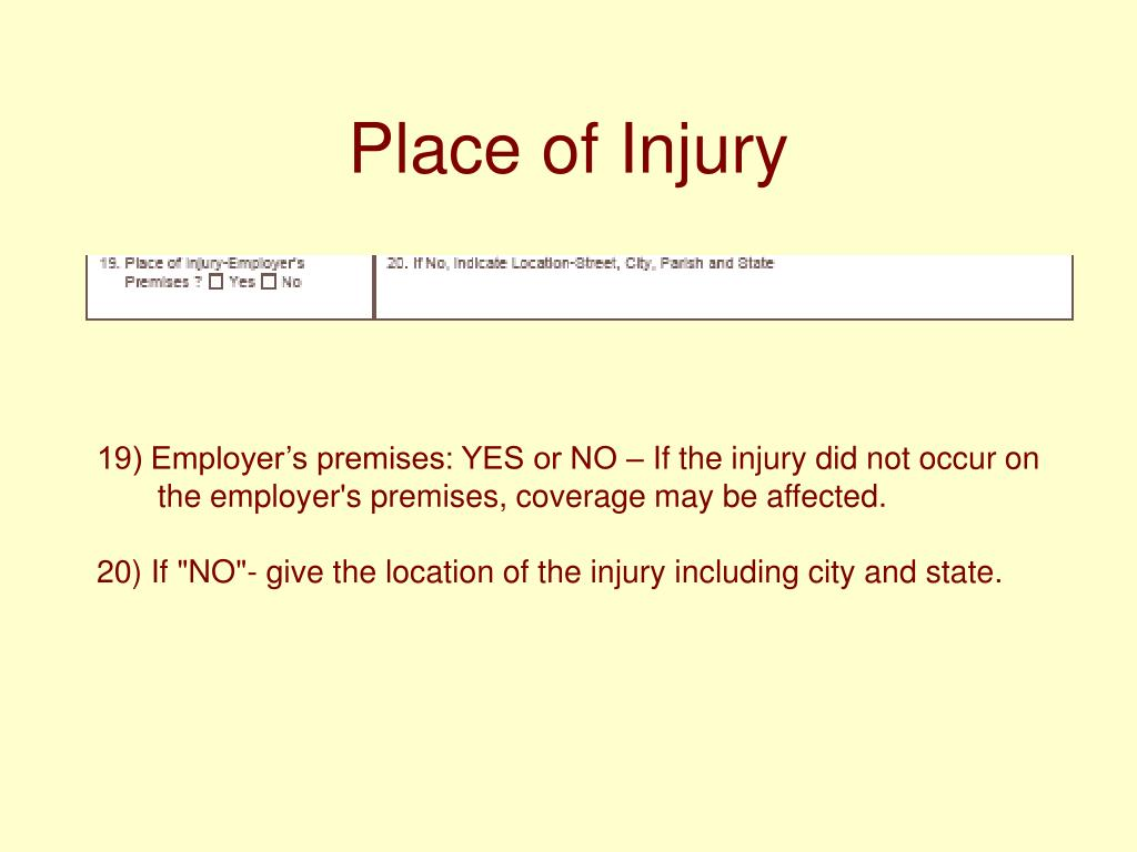 Place of Injury