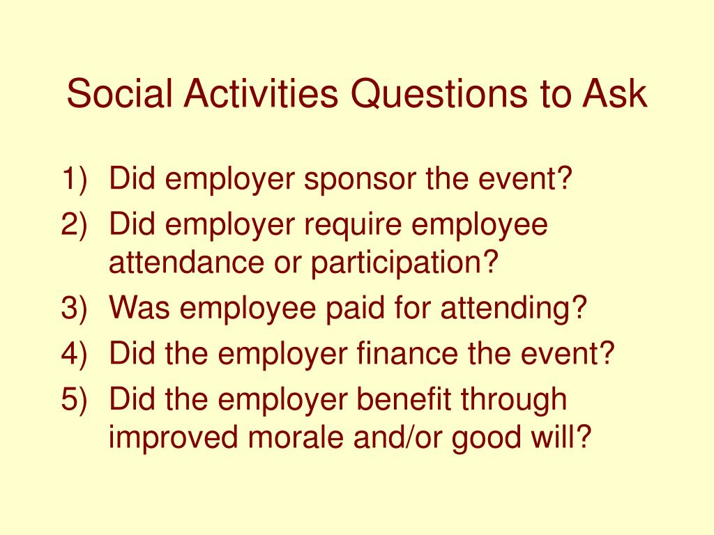 Social Activities Questions to Ask