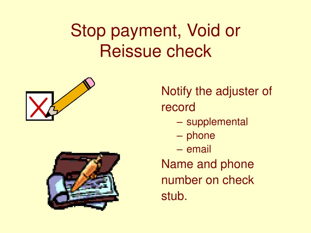 Stop payment, Void or