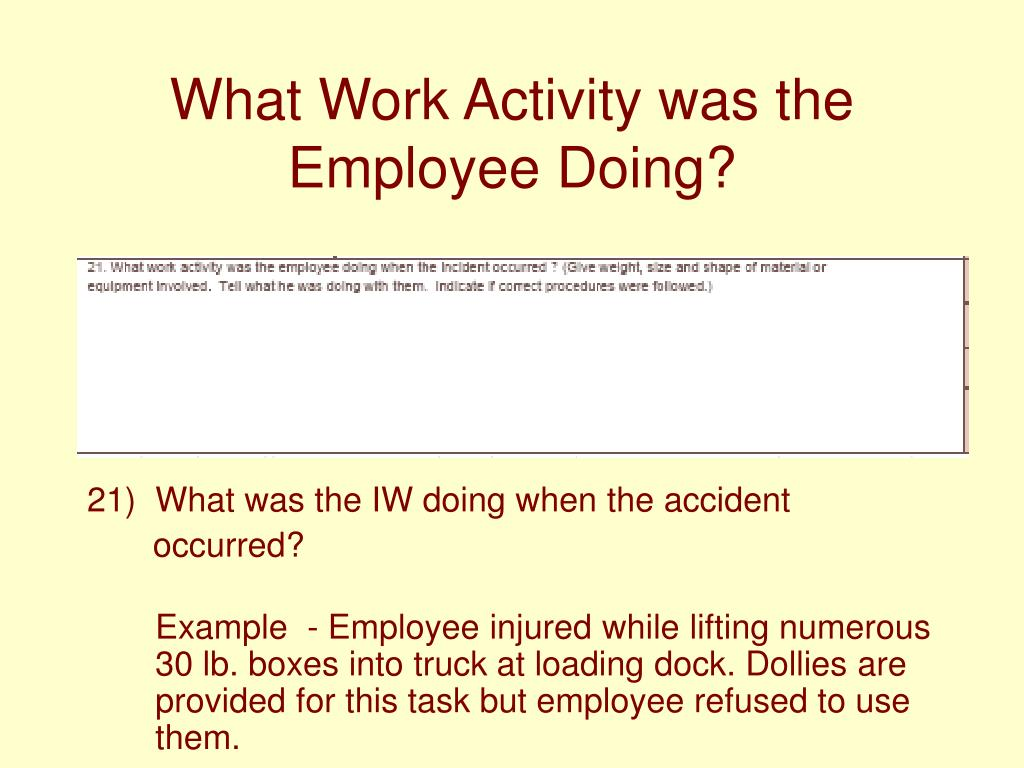 What Work Activity was the