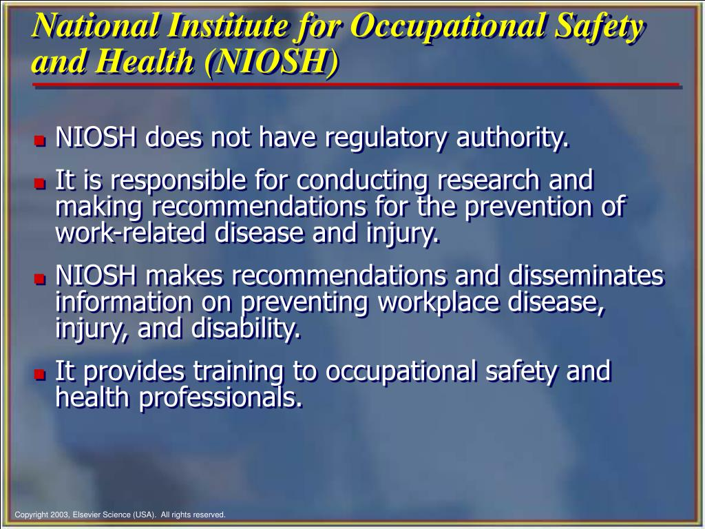 an analysis of national institute for occupational safety and health niosh Workers' compensation injury survival analysis business-case safety  and  injuries (national institute of occupational safety and health (niosh), 2009.