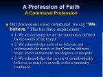 a profession of faith a communal profession