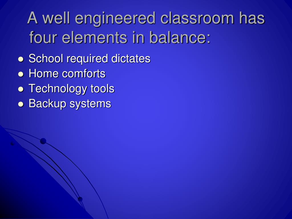 A well engineered classroom has four elements in balance: