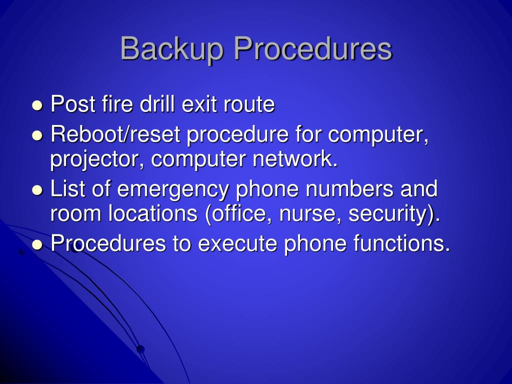 Backup Procedures