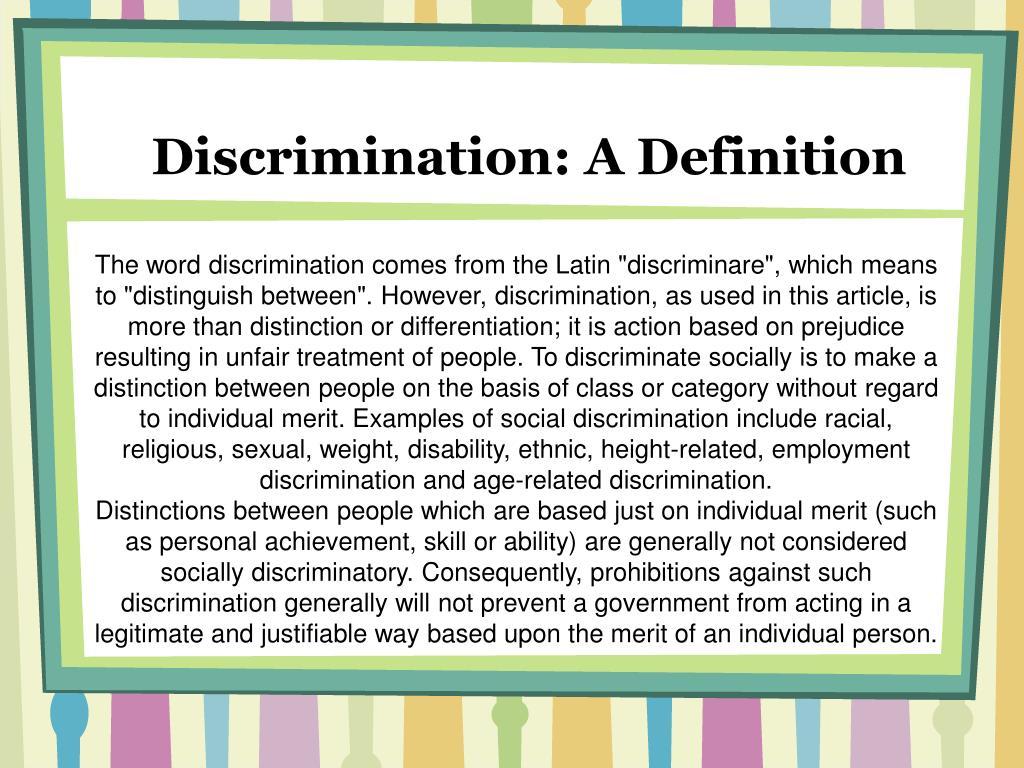 Discrimination: A Definition