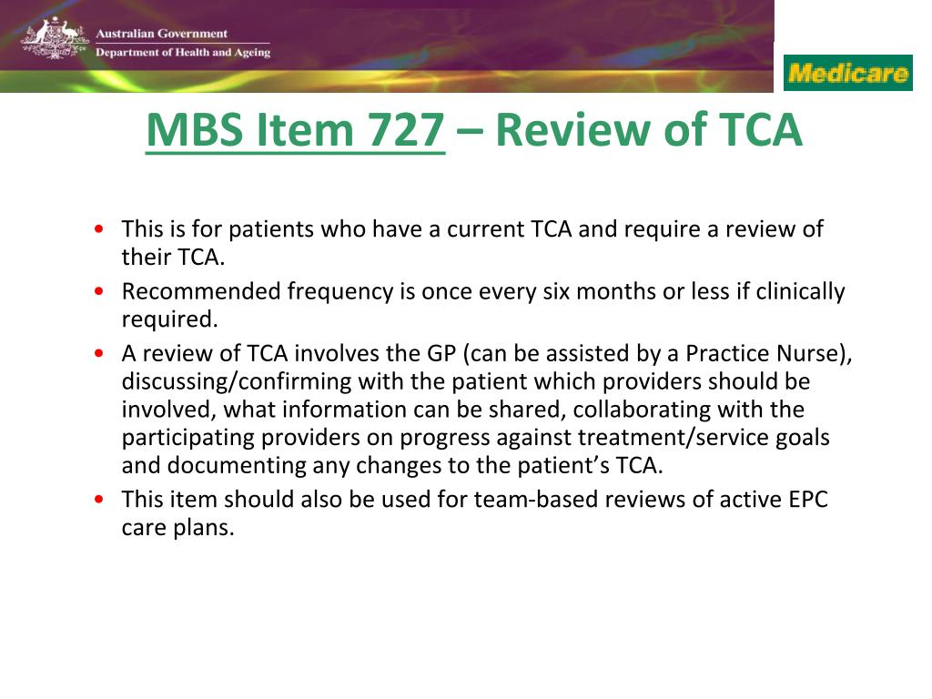 This is for patients who have a current TCA and require a review of their TCA.