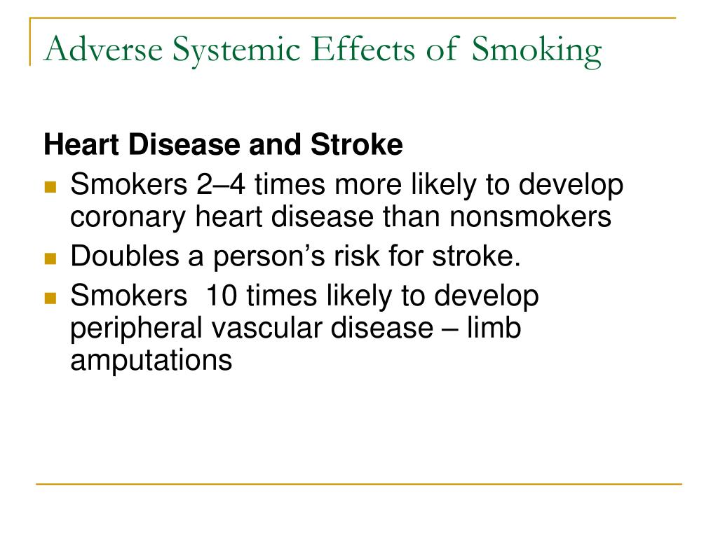 Adverse Systemic Effects of Smoking