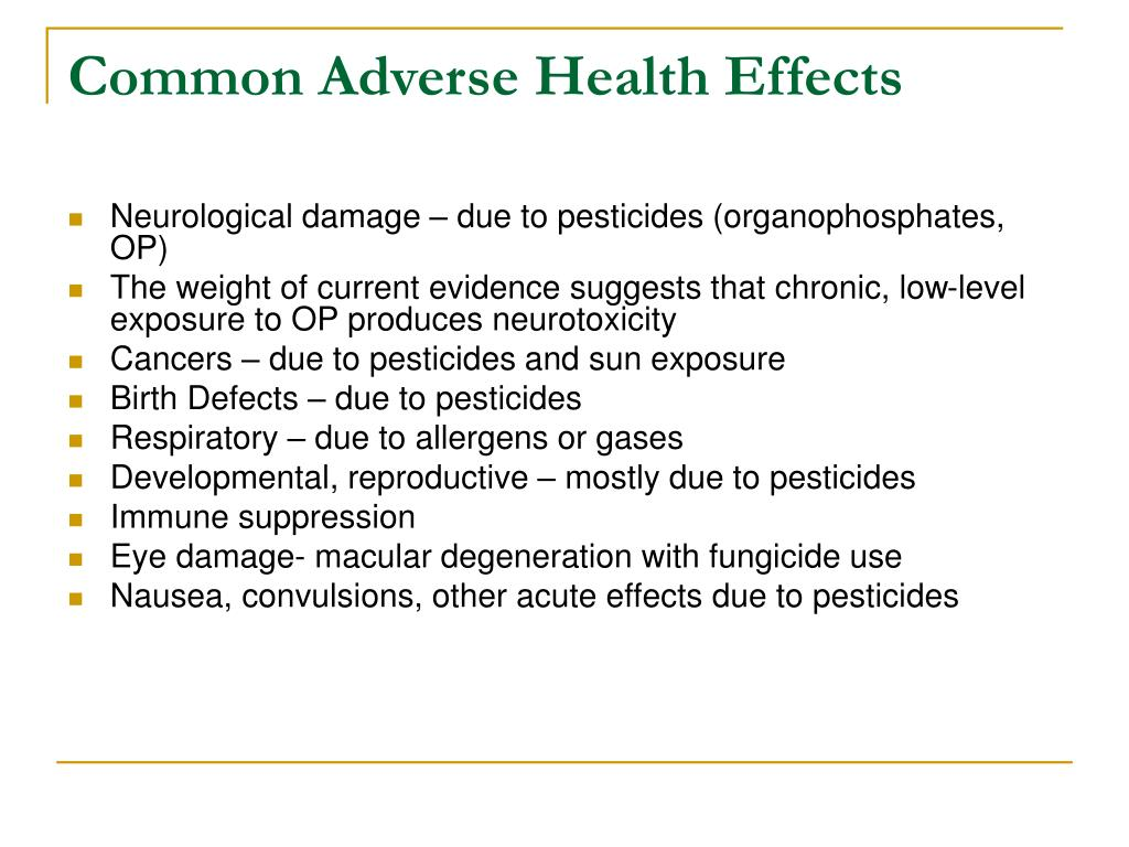 Common Adverse Health Effects