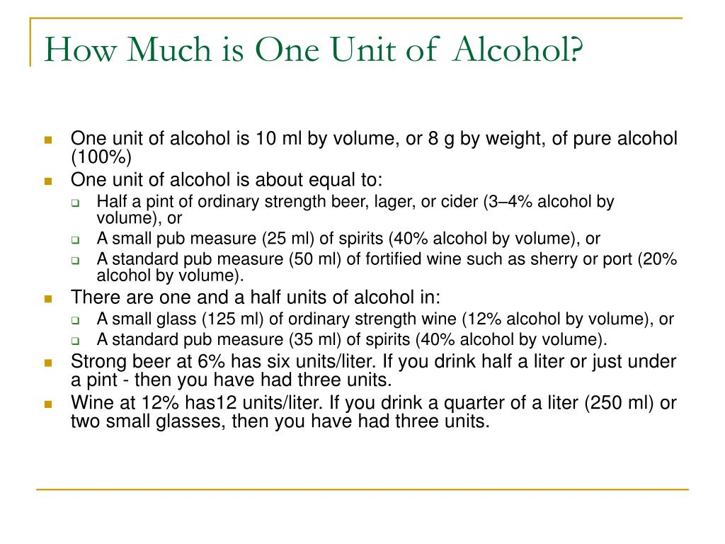 How Much is One Unit of Alcohol?
