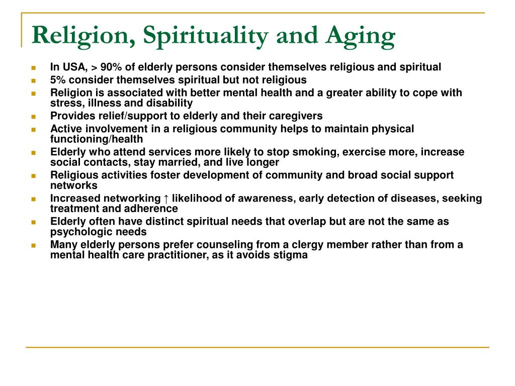 Religion, Spirituality and Aging
