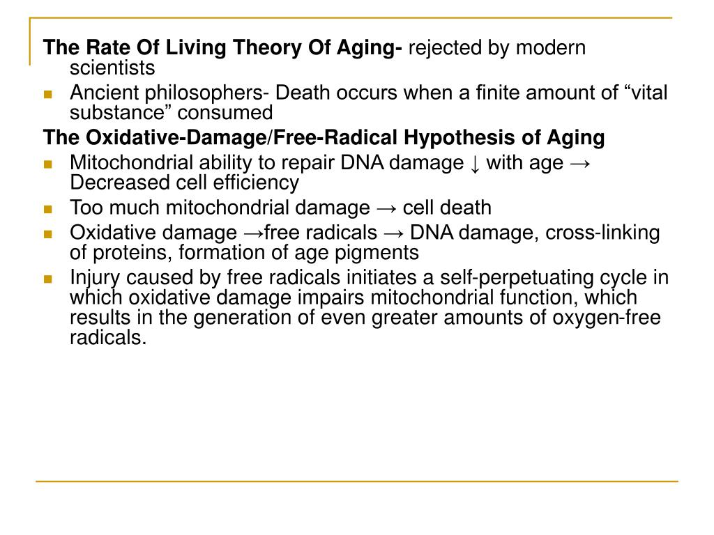 The Rate Of Living Theory Of Aging-