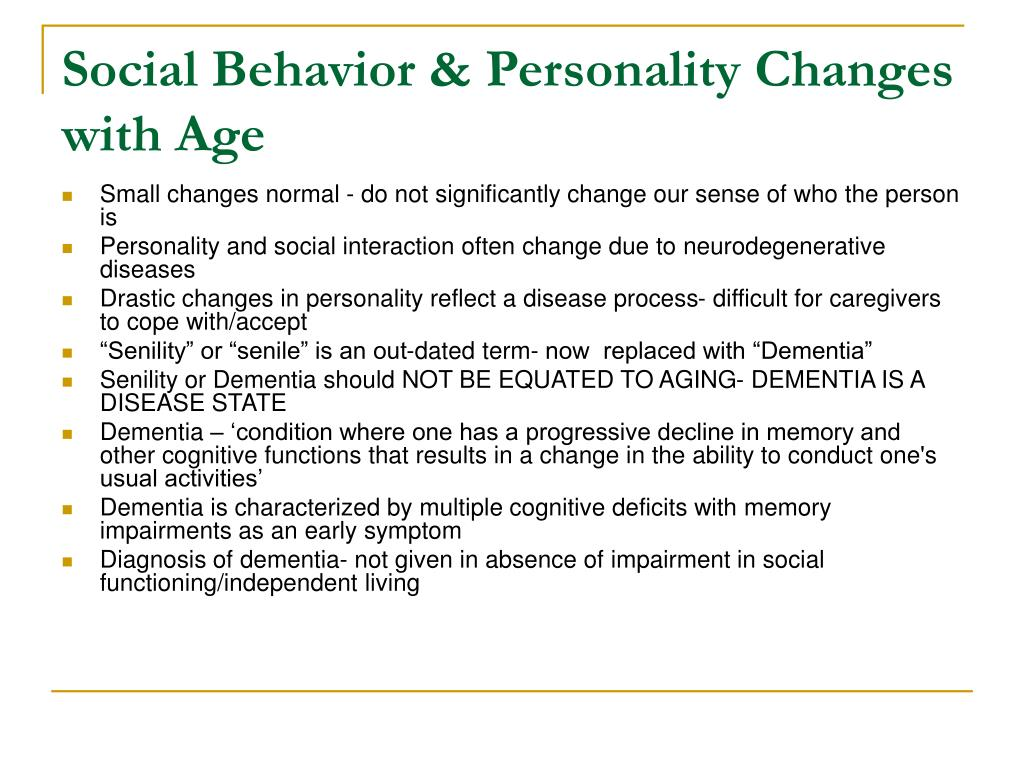Social Behavior & Personality Changes with Age