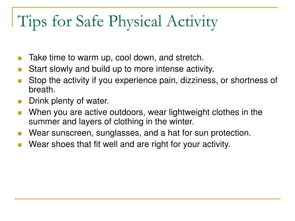 Tips for Safe Physical Activity
