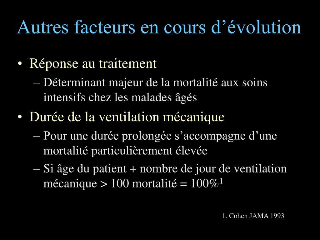 Autres facteurs en cours d'évolution