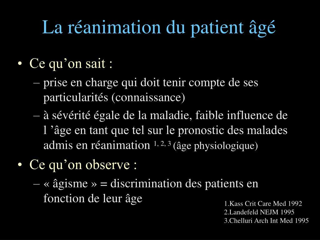 La réanimation du patient âgé