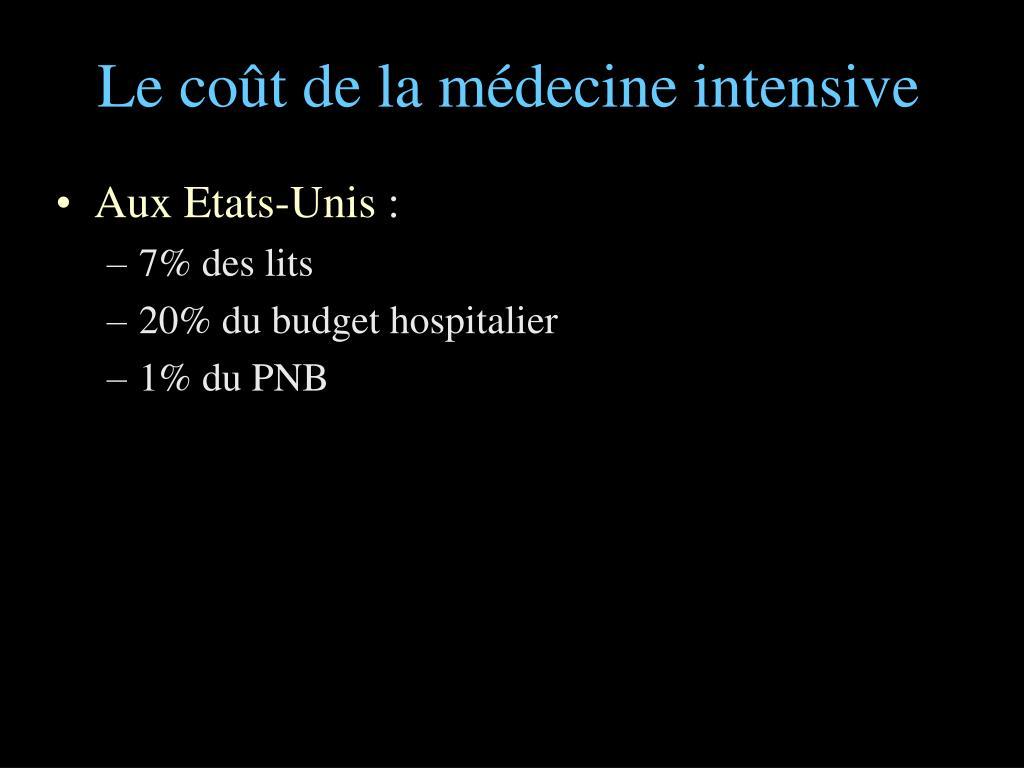 Le coût de la médecine intensive