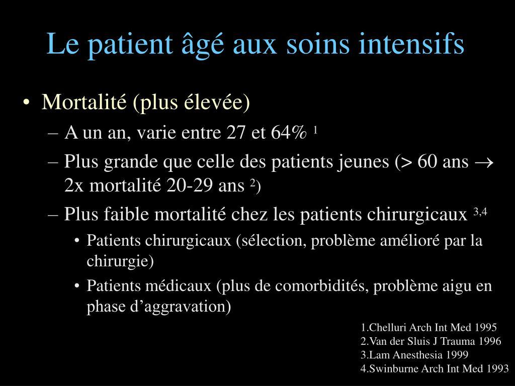 Le patient âgé aux soins intensifs