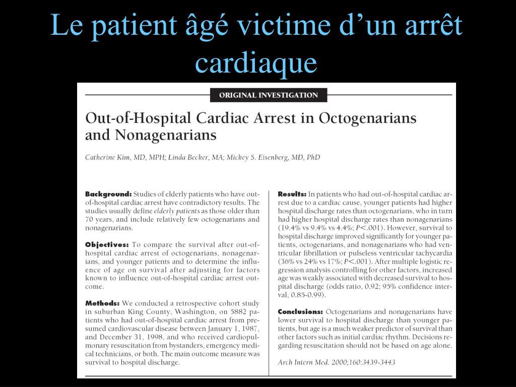 Le patient âgé victime d'un arrêt cardiaque