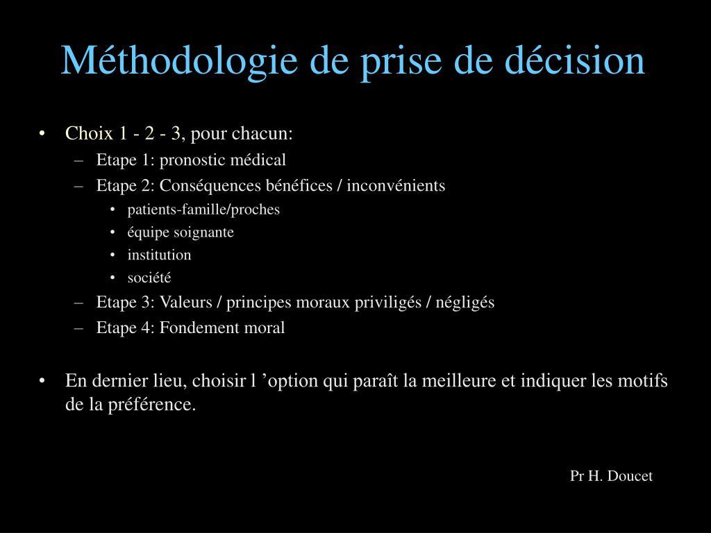 Méthodologie de prise de décision