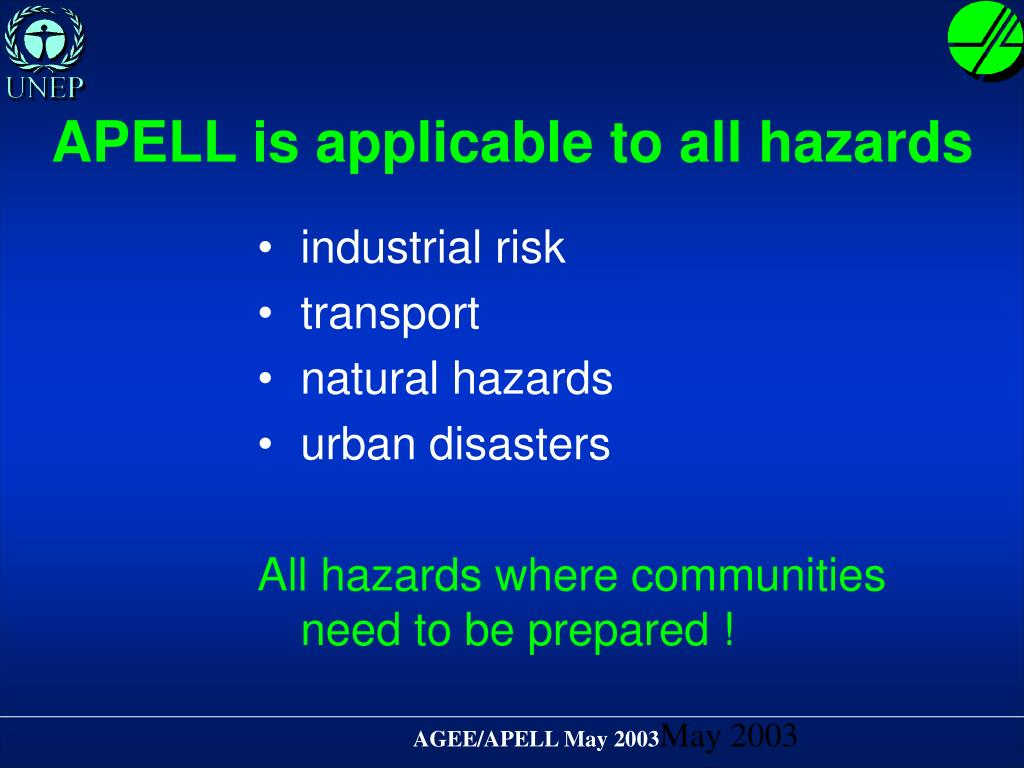 APELL is applicable to all hazards