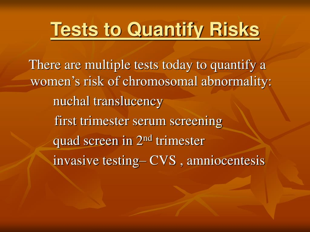 Tests to Quantify Risks