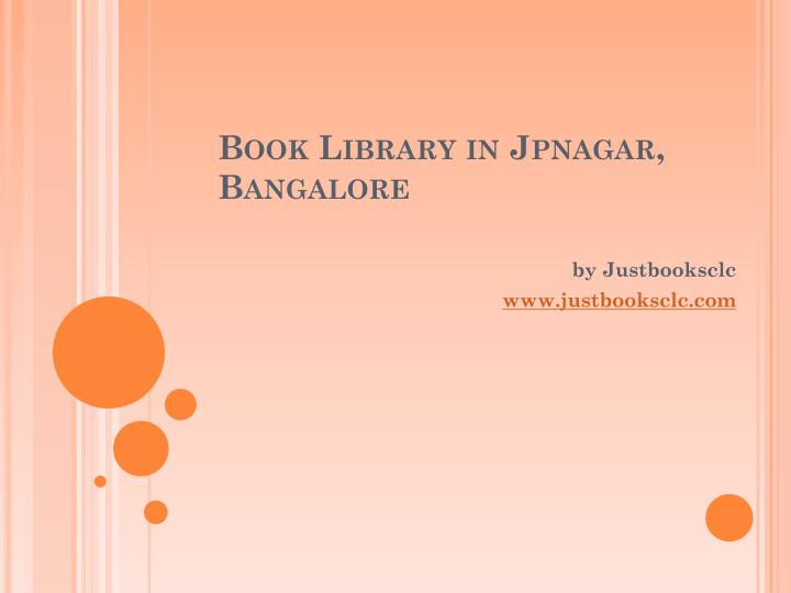 Book library in jpnagar bangalore
