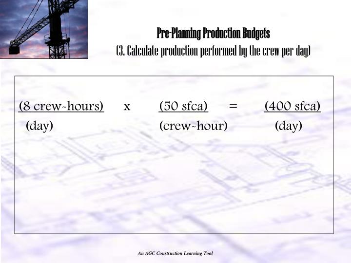 Pre-Planning Production Budgets