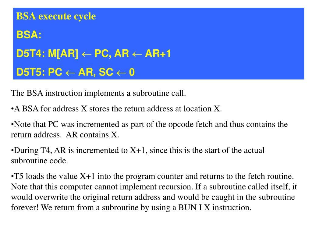 BSA execute cycle