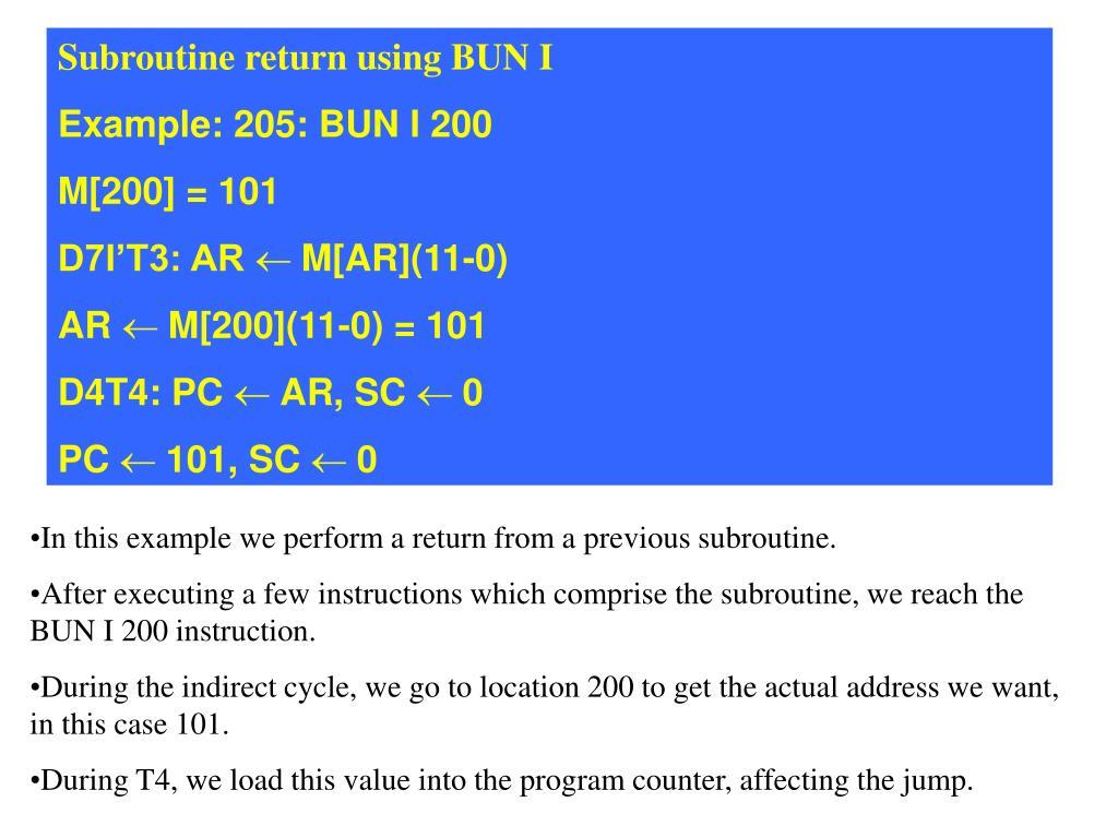 Subroutine return using BUN I