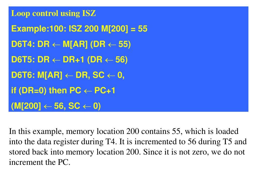 Loop control using ISZ