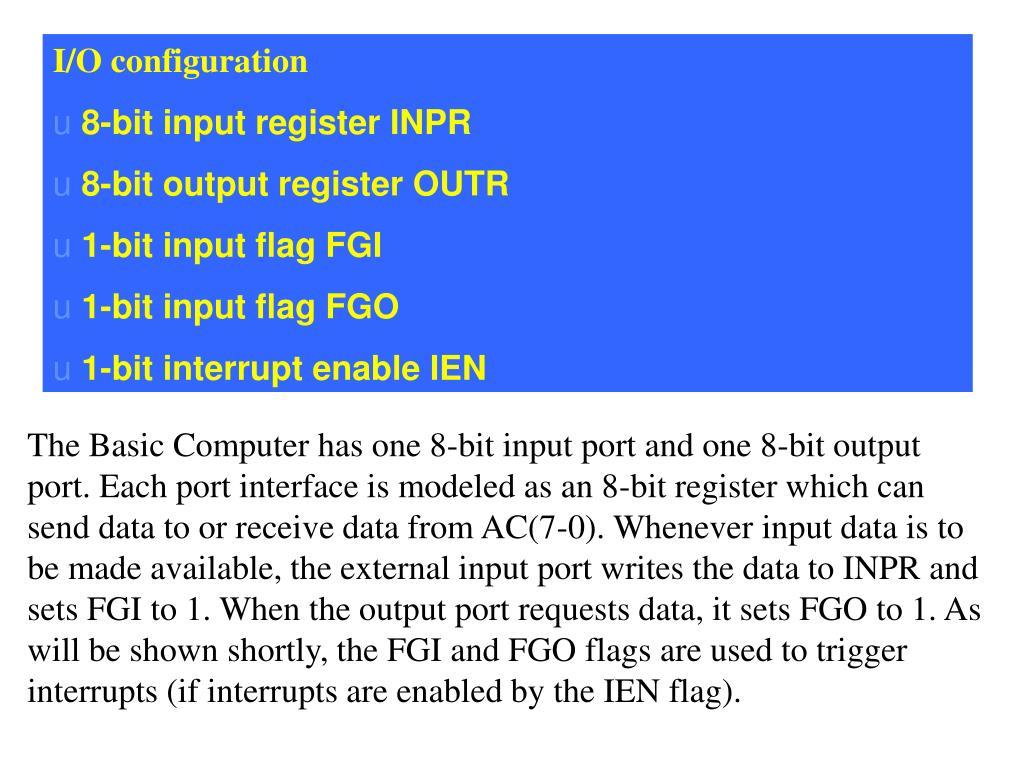 I/O configuration