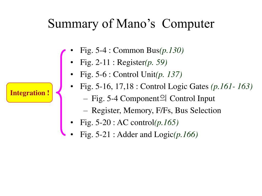 Summary of Mano's  Computer