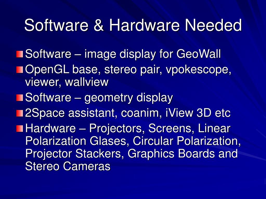 Software & Hardware Needed