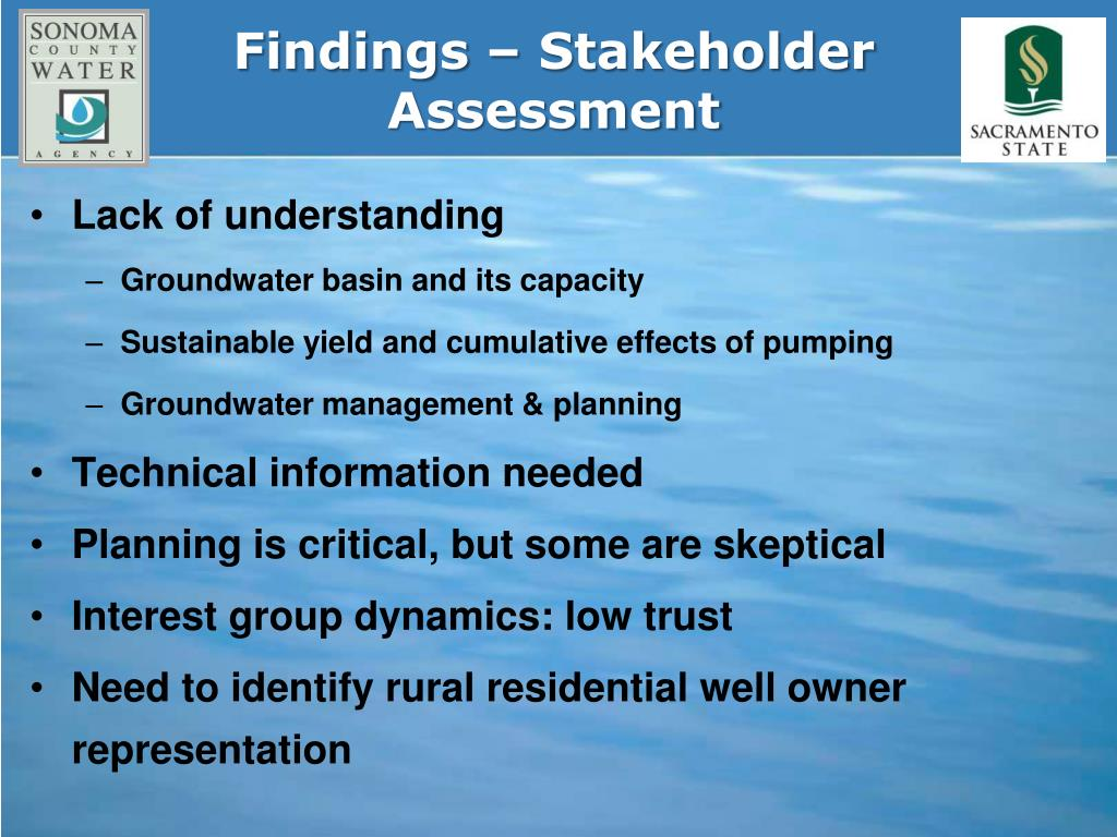 Findings – Stakeholder Assessment