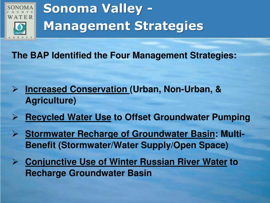 Sonoma Valley -Management Strategies