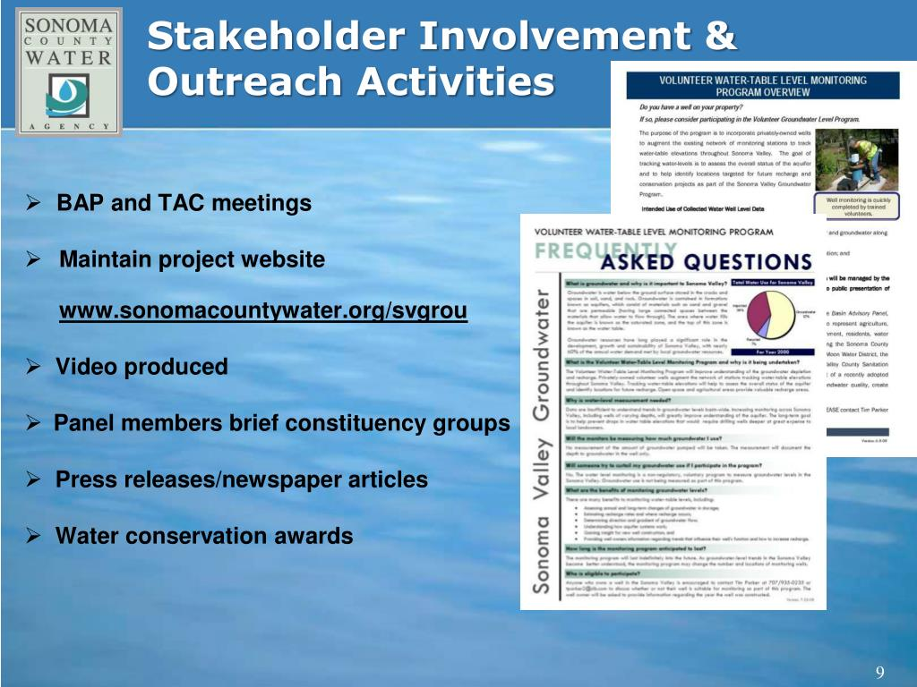 Stakeholder Involvement & Outreach Activities