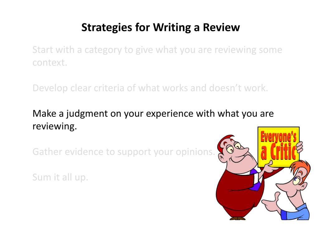 Strategies for Writing a Review