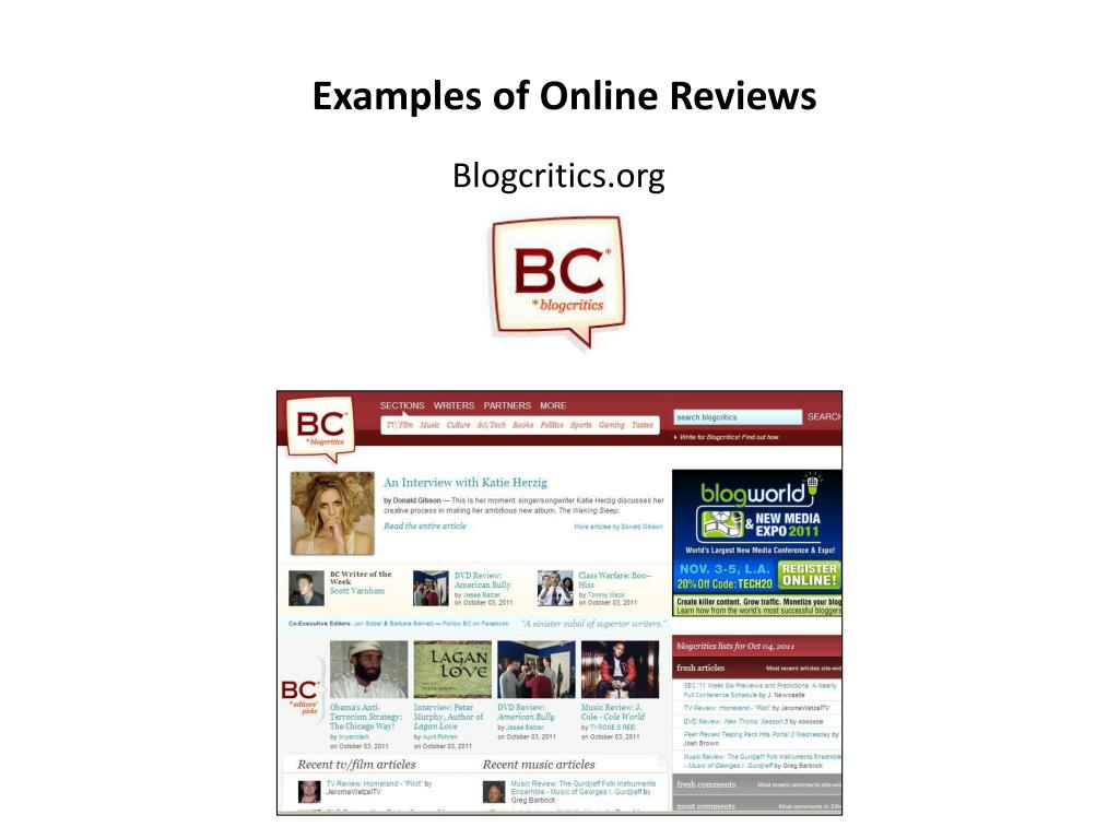 Examples of Online Reviews