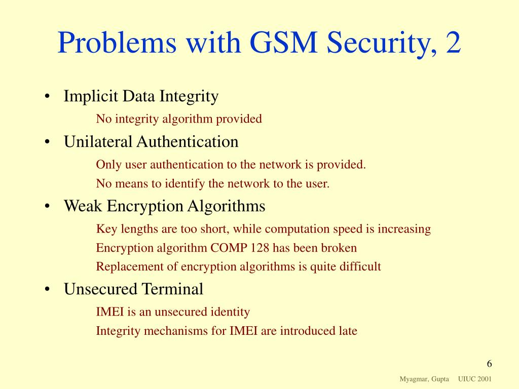 Problems with GSM Security, 2
