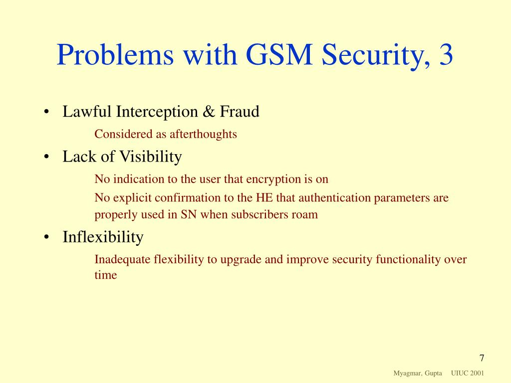 Problems with GSM Security, 3