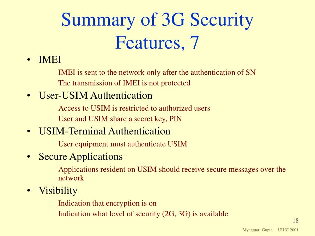 Summary of 3G Security Features, 7