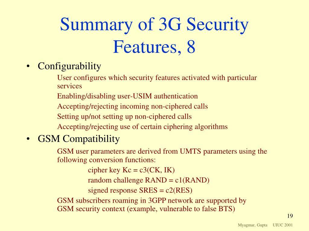 Summary of 3G Security Features, 8
