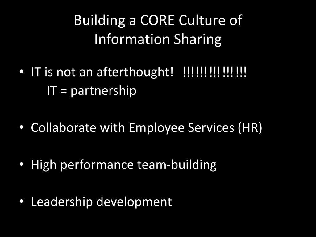 Building a CORE Culture of