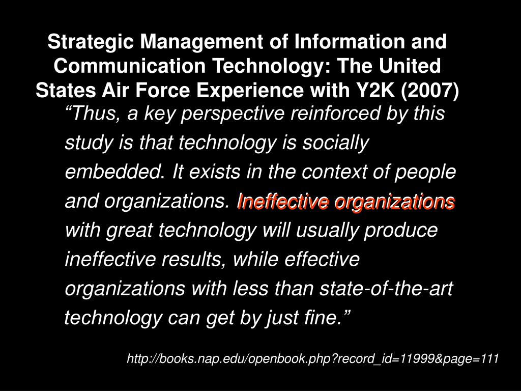 Strategic Management of Information and Communication Technology: The United States Air Force Experience with Y2K (2007)