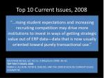 top 10 current issues 2008