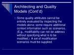 architecting and quality models cont d